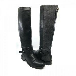 Zara Basics Gray Black Vegan Leather Riding Boots